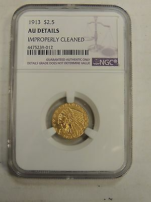 1913 Indian Head Gold Quarter Eagle $2.5 AU Details NGC