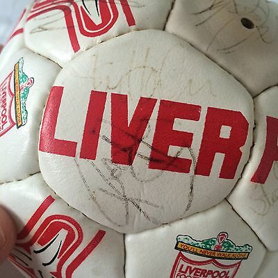 Vintage Liverpool FC Football signed by LFC greats Rush, Fowler, Barnes etc.