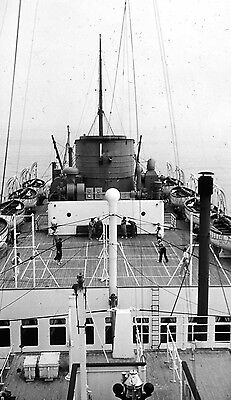 Photographic Glass Slide Ships Deck View Of 'chieftain' 1935