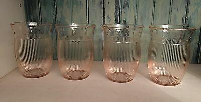 "Pink Depression Glass Homespun 4"" Water Tumbler Jeannette Glass 1939-49"