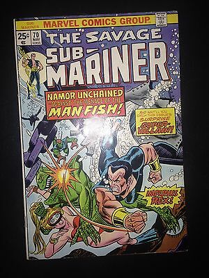 Sub-mariner #70 (1974) FN+ (Marvel Value Stamp included)