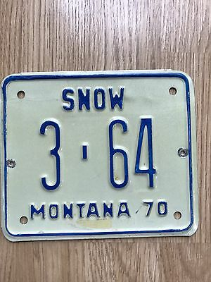 1970 Montana Snowmobile License Plate #3-64  Yellowstone County
