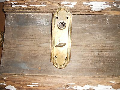 Vtg Heavy Cast Brass Steampunk Old Door Knob Back Plate Thumb Latch Arts/crafts