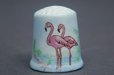 American Bisque Flamingoes Initialed MJM Thimble B/64