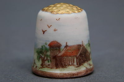American Bisque Old Barn Signed Thimble B/64