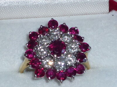 Bague or 18 carats rubis et diamants