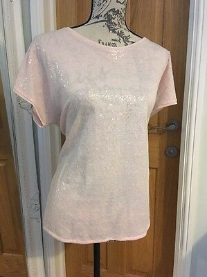 M&S Collection Pink Sequin T-Shirt 14