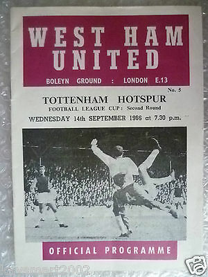 50th Birthday Present 1966 League Cup WEST HAM UNITED v TOTTENHAM HOTSPUR,14 Sep
