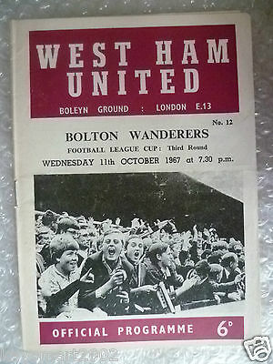 1967 Football League Cup WEST HAM UNITED v BOLTON WANDERERS, 11 October