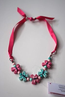 NWT Gymboree Island Hopper Pink Butterfly Necklace Girls 4 5 6 7 8 9 10