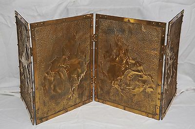 ANTIQUE 4 PANEL BRASS FIREPLACE FIRE SCREEN with PIERCED DECORATIVE ANIMALS
