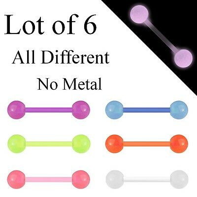 T0006 Lot 6 x Flexi Glow In The Dark Tongue Bars Piercing Flexible Bar Nipple