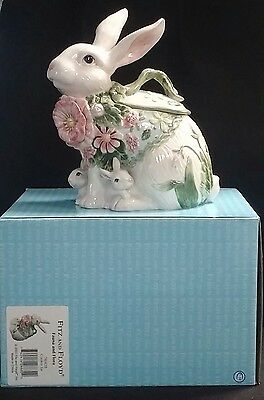 Fitz & Floyd Fauna & Flora Rabbit Cookie Jar *new In Box*