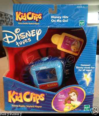 RARE Disney Tunes KIDCLIPS Kid Clips Retro Radio Player Beauty & The Beast BELLE