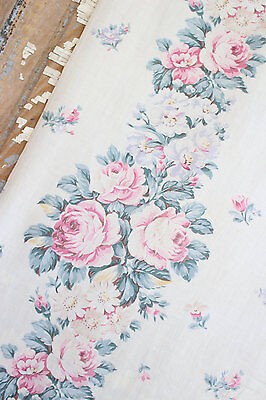 SOFT MUTED SUMMER FLORAL ROSES 1930s VINTAGE FABRIC DRAPE PANEL SHABBY CHIC