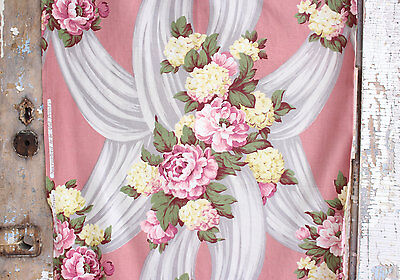 PINK ENGLISH CABBAGE ROSES FLORAL1930s VINTAGE FABRIC DRAPE PANEL