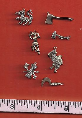 1960's  Metal Cracker Jack / Giumball Charms..Lot of 7  Gold tone charms
