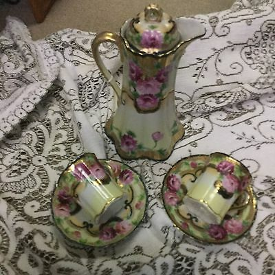 Vintage Coffee Chocolate Pot With Cups & Saucers p Pink Flowers & Gold Trim