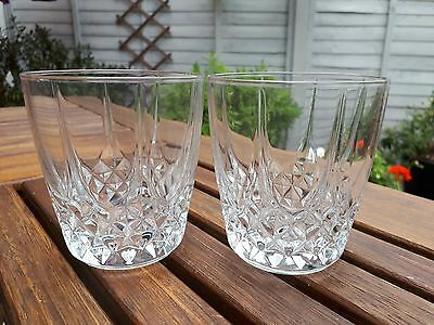 VINTAGE PAIR OF ELEGANT CUT LEAD CRYSTAL GLASS WHISKY TUMBLERS DIAMOND ref 10