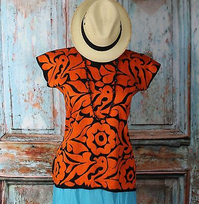 Orange & Black Hand Embroidered Huipil Blouse, Jalapa Mexico Hippie Boho Cowgirl