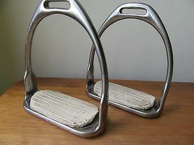"""Stainless Steel 4.25 4 1/4"""" fillis Stirrup Irons with old treads"""