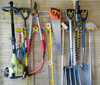 Garden Tool Rack Deluxe With Sliding Hooks