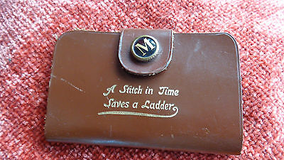 """Vintage Sewing Kit In Leather Case """"a Stitch In Time Saves A Ladder"""""""