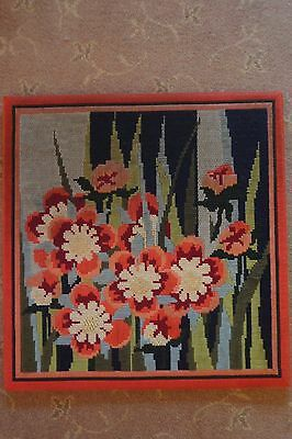 "Completed wool needlepoint/tapestry - red flowers on water  backed 18"" square"