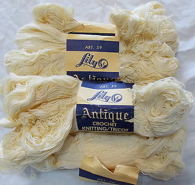 5 Lily Antique Crochet Knitting Tricot Thread Cream Cotton 500 Yds.