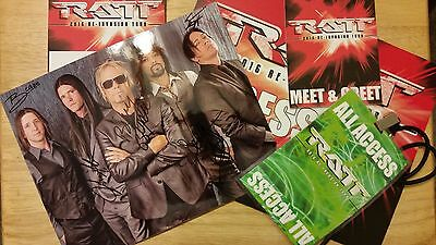 Rare RATT Tour VIP Pack Autographed Photo, All Access Badge & Door Sign