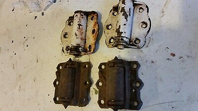 2 vintage Cast Iron Screen and 3 steel Door Hinges  Spring Hinge Hardware broke