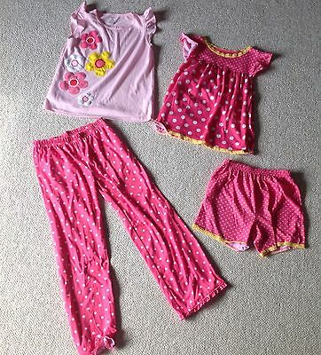 CARTERS Girls Size 10 Pink Yellow Flower 4PC Pj Pajama Sleepwear Set EUC