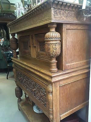 Vintage Beautiful Ornately Carved Oak Side Board Hutch Victorian