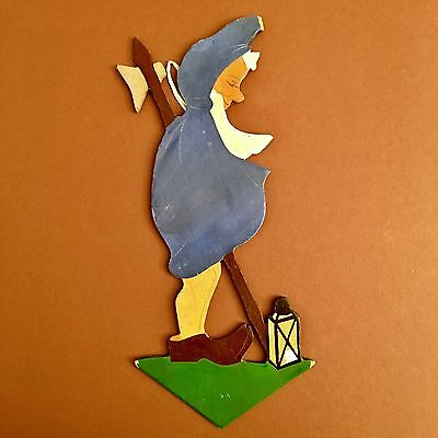 🍄26: Fairy Tale Wall Figure Nightwatch Dwarf Gnome ~1930 🍀 Hand-Painted
