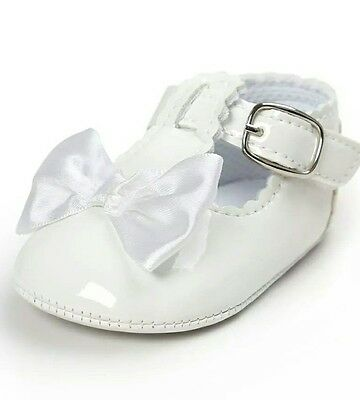 baby girl 12-18 months traditional vintage white christening shoes soft sole