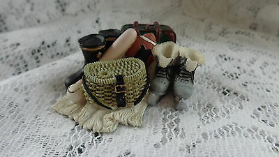 Dolls House Boots, Suitcase, Fishing Basket Etc Resin 1/12Th
