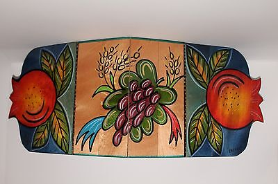 Judaica Table Runner by Kakadu,Rosh Hashanah theme,handmade,Mahogany wood.