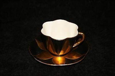 Shelley Black and Gold Flower Cup & Saucer