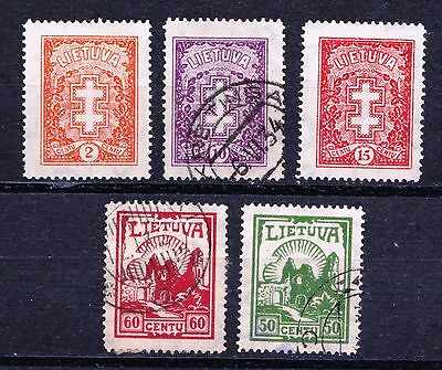 Lithuania 1933 - 1934 Definitive Issue - 3 Used & 2 mint hinged - (36)