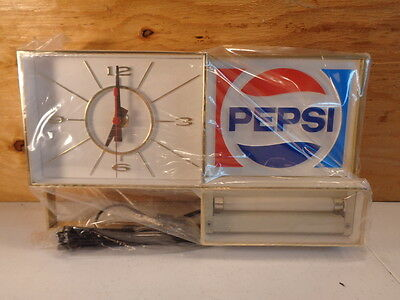 Vintage Pepsi Cola Light Up Clock New Old Stock NOS Still Shrink Wrapped 1970