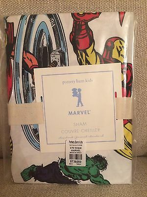 NWTPottery Barn Kids MARVEL SUPER HERO Standard Pillow Sham Captain America Hulk