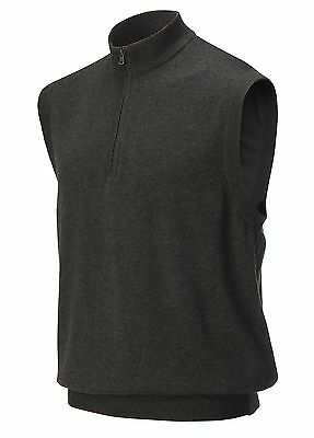 Greg Norman Lined 1/4 Golf Zip Vest  Charcoal Large