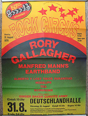 Original Konzertposter Rory Gallagher Manfred Mann`s Earth Band Rock Circus 1976