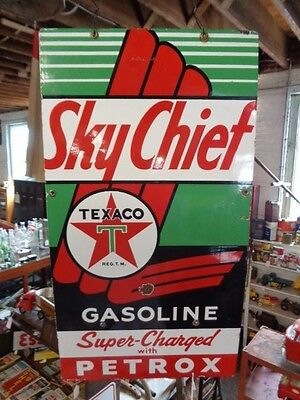 Texaco Sky Chief Supreme Gasoline Super Charged Petrox Advertising Sign