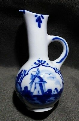 Vintage Hand Painted Delft Blue Holland Windmill Porcelain Oil Cruet by DBL