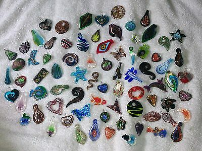 JOB LOT 10 Brand New GLASS PENDANTS All Different For NECKLACE Making