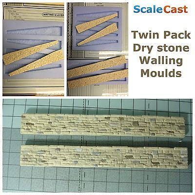Model Railway - Dry Stone Walling Twin Pack With Ramped Ends Mould - 00 Scale