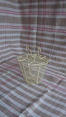 French Vintage Coated Metal Wire Shabby Chic Basket Folding  handle C 1960's