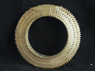 Antique African brass lost wax currency tribal brass anklet /  bangle