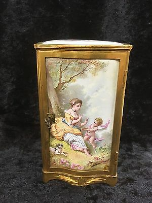 Viennese enamel & dore bronze casket with cupid scenes on all sides